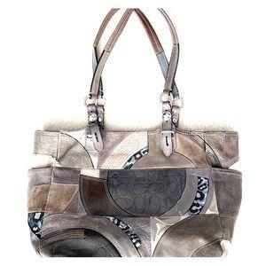 COACH purse, gray, shoulder bag, leather, suede